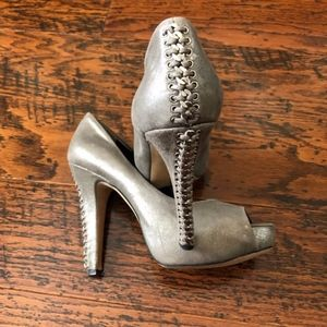 Vince Camuto Metallic Leather Peep-toe Heels